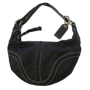 Coach | small black signature logo hobo bag
